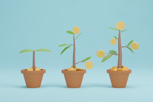 3d 렌더링입니다. 머니 트리 성장 다이어그램입니다. 비즈니스 투자 성장 개념입니다.