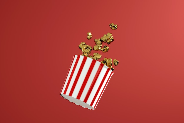 3d render of monochrome golden popcorn box. levitation food. cinema snack concept.