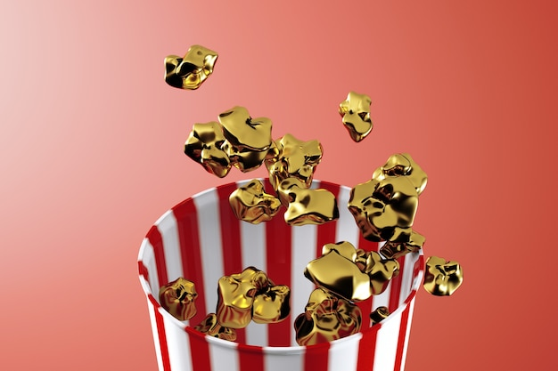3d render of monochrome golden popcorn box. levitation food. cinema snack concept