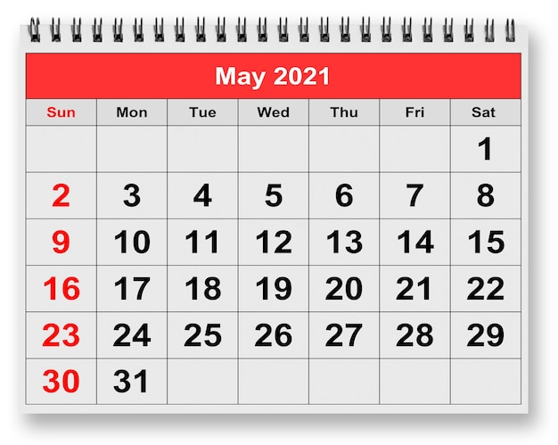 2 천만 21의 5 월 페이지에 3d 렌더링 월별 달력