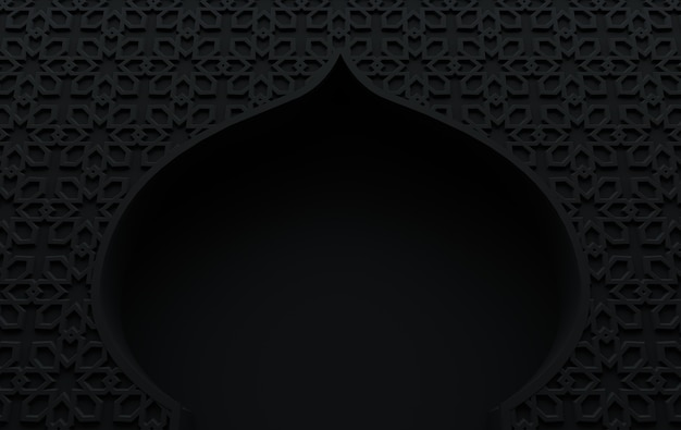 3d render mosque element in intricate arabic, islamic architecture style