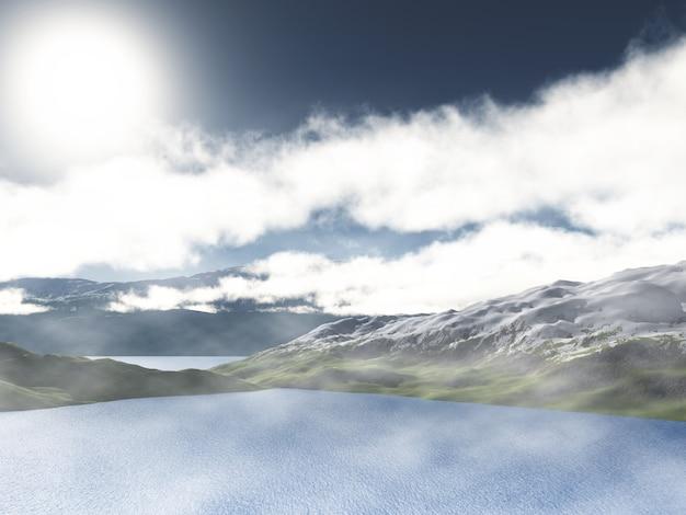 Rendering 3d di un paesaggio montano e lacustre con nuvole basse