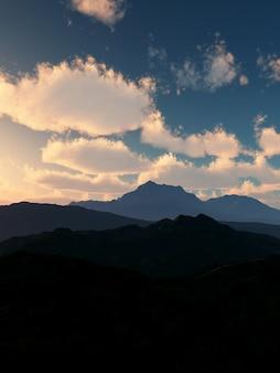 Rendering 3d di un paesaggio di montagna