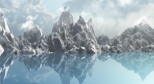 3d rendering di una serie di ghiaccio montagna