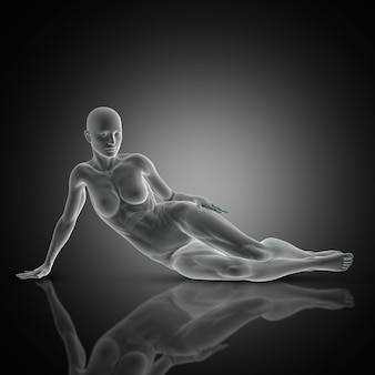 3d render of a muscular female in laying down pose