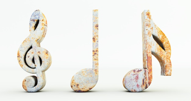 3d render of music notes isolated on white background, rusty metal music note symbol