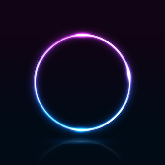 3d render neon bright blue and purple abstract glowing ring isolated on black background