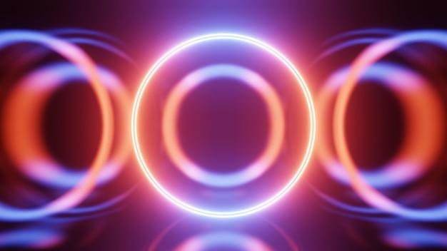 3d 렌더링 네온 원입니다. 파란색과 빨간색 네온 원은 미래 지향적인 하이테크 배경을 추상화합니다.