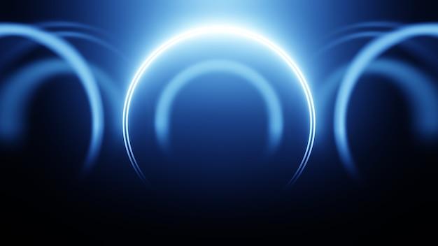 3d 렌더링 네온 원입니다. 블루 네온 원은 미래 지향적인 하이테크 배경을 추상화합니다.
