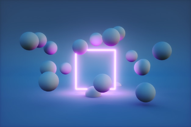 3d render of neon frame with balls around it.
