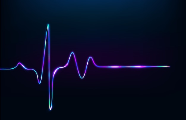 3d render neon heartbeat signal isolated on black background