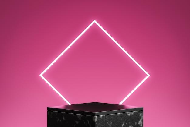 3d визуализация неонового розового и темного подиума с розовым фоном