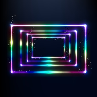 3d render neon sparkly rainbow colored frames isolated on black background