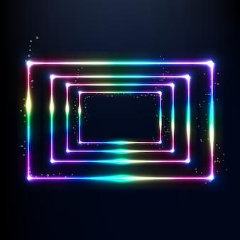 3d визуализация неоновых блестящих радужных цветных рамок на черном фоне