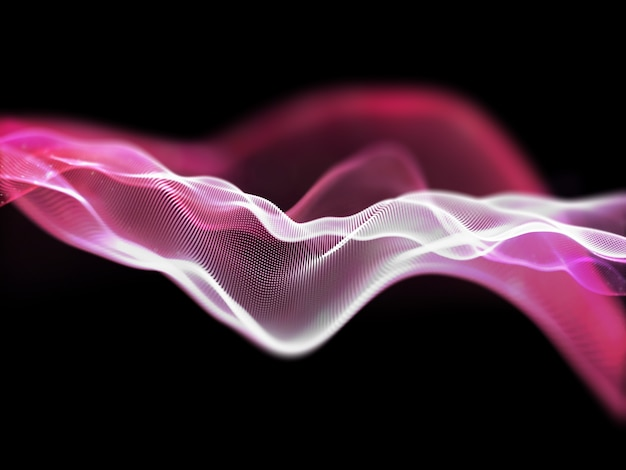 3d render of a network communications background with flowing particles
