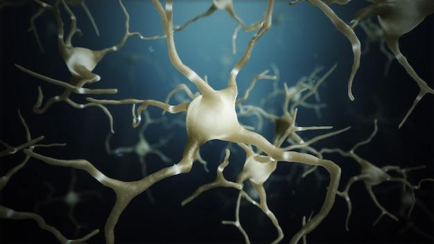 3d 렌더링 신경 세포 연결 세계 개요