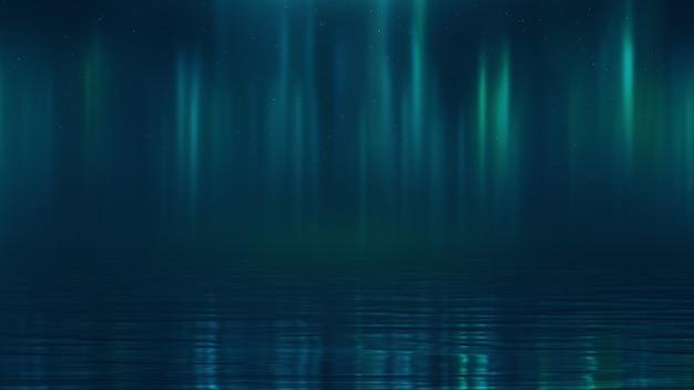 水上で夜のオーロラを3dレンダリング
