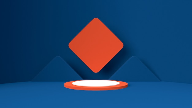 3d render object mockup , abstract shape and geometry in blue red and white color.
