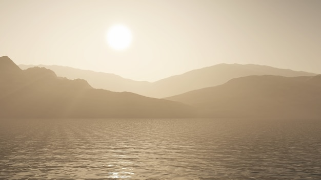 3d render of an ocean against a mountain landscape in sepia tones