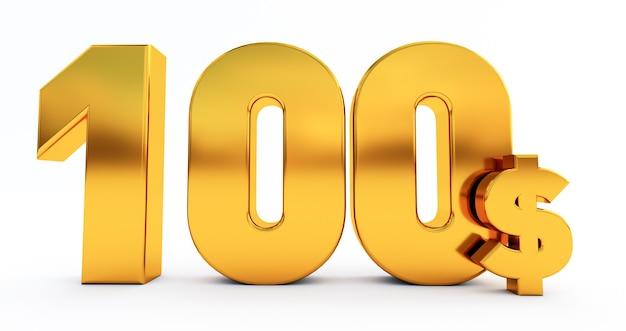 100ドル、白い背景で隔離の黄金の100ドルの単語の3dレンダリング。