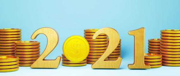2021年とゴールデンコインの3dレンダリング