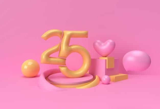 ハーツバレンタインデーデザインポスターバナー付きの25%の3dレンダリング。