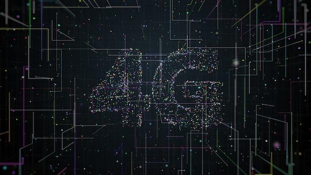 画面の中央から広がる粒子と軌跡で作られた4gタイトルの3dレンダリング。高速技術通信。