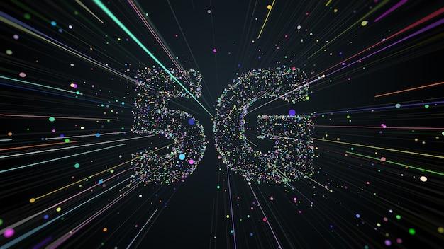 画面の中央から広がる粒子と軌跡で作られた5gタイトルの3dレンダリング。高速技術通信。