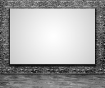 3d render of a blank canvas on a brick wall