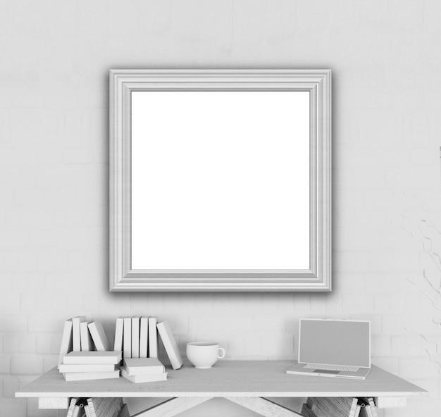 3d-рендеринг пустой рамки изображения в офисе