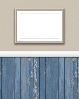 3d визуализации пустой рамкой на гранж стене