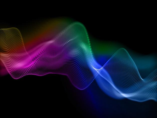 流れるサイバー粒子とカラフルな背景の3dレンダリング