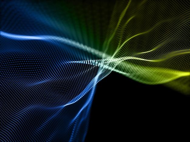 흐르는 입자와 디지털 배경의 3d 렌더링