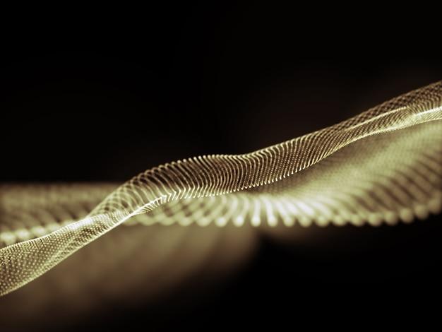 粒子が流れるデジタル通信の背景の3dレンダリング