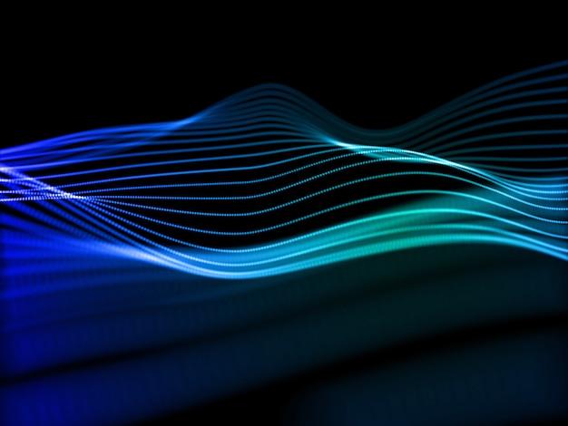 디지털 기술 배경, 네트워크 통신, 음파의 3d 렌더링