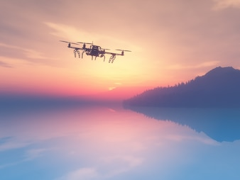3d render of a drone flying over a sunset ocean