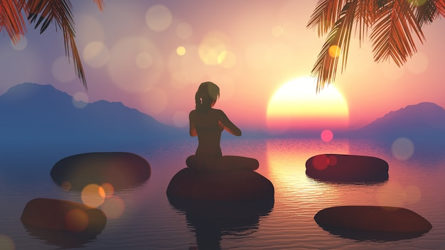ヨガの女性の3dレンダリングは、空を夕日