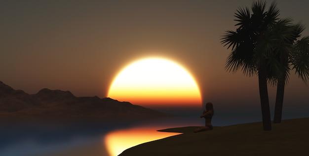 ヨガの女性の3dレンダリングは、夕方のビーチでポーズを取る