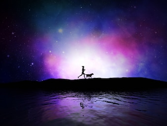 3d render of a female jogging with her dog against a space sky