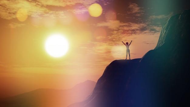 3d-рендеринг женщины с поднятыми руками на скале против неба заката