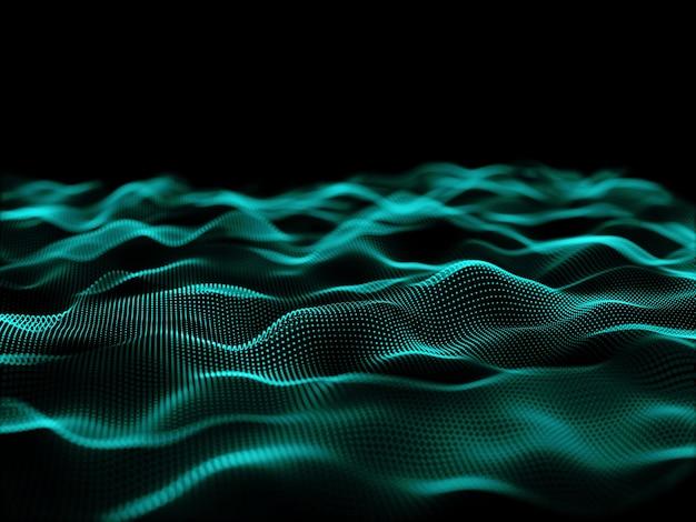 사이버 입자로 흐르는 입자 디자인의 3d 렌더링