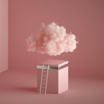 솜털 구름, 입방 받침대 근처 사다리, 최소한의 방 인테리어의 3d 렌더링.
