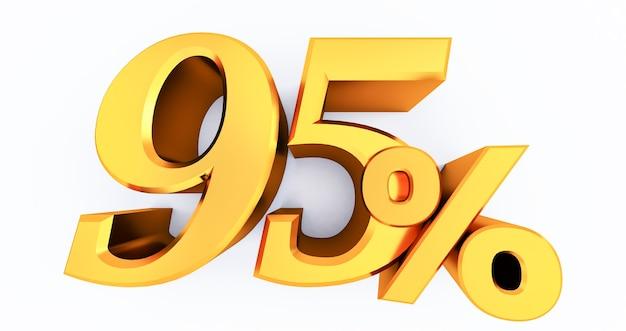 3d визуализация 95 процентов золота на белом, золотом девяносто пять процентов