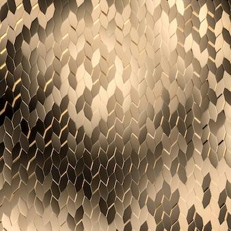 3d визуализация золотой мозаики повторяющихся геометрических фигур.