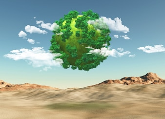 3d render of a grassy globe with trees over a barren landscape