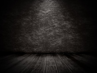 3D render of a grunge interior with brick wall and old wooden floor