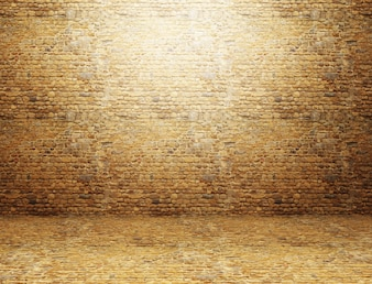 3D render of a grunge room interior with brick wall and floor