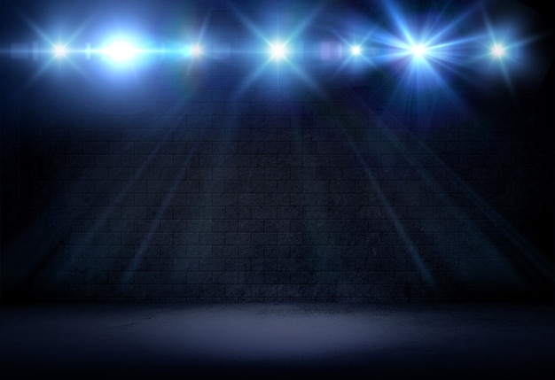 3d визуализация интерьера в стиле гранж с сияющими прожекторами