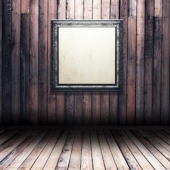 3d-рендеринг интерьера из дерева гранжа с пустой рамкой