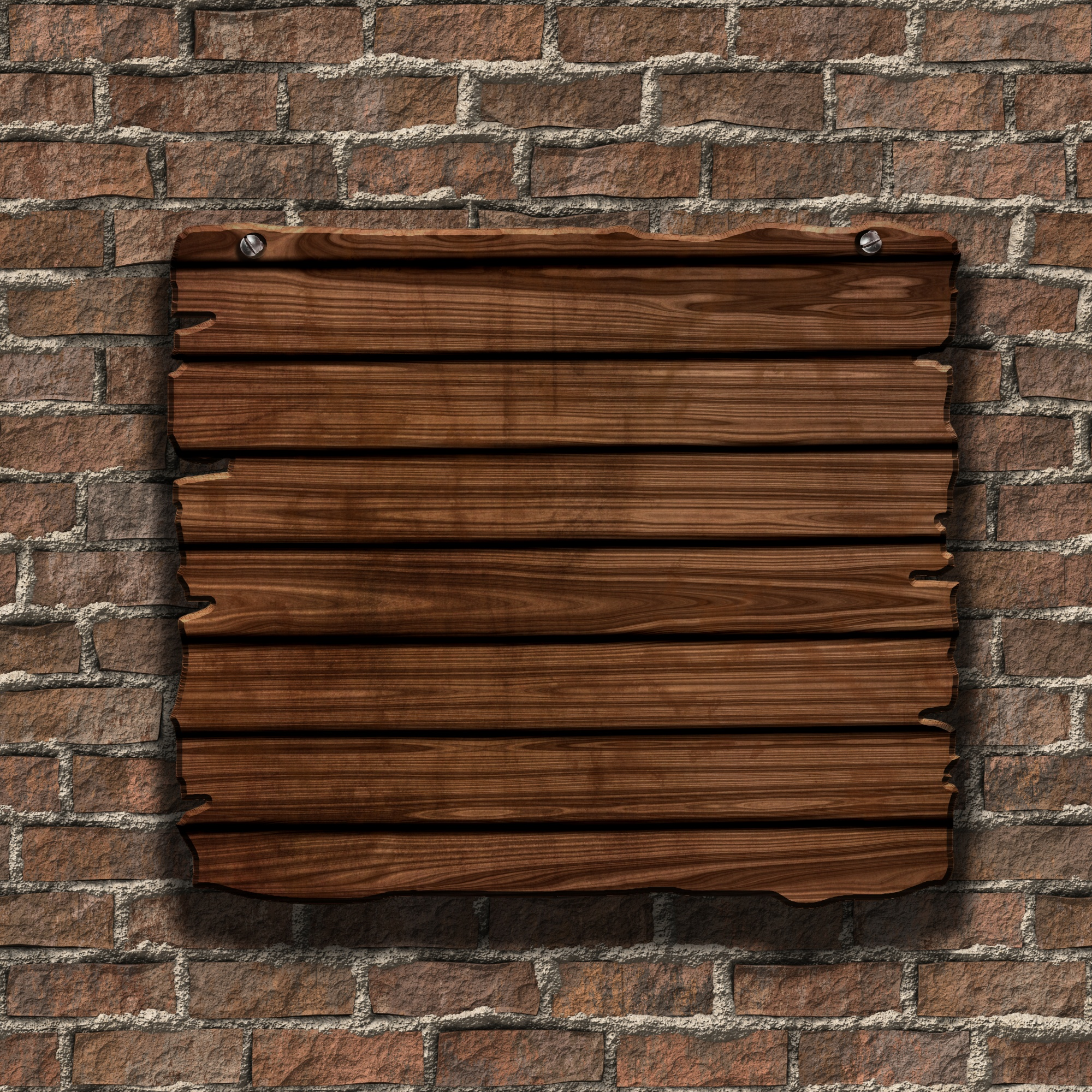 3d render of a grunge wood sign on an old brick wall